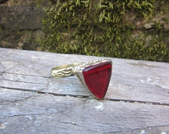 Vintage Metal Ring RED Stone Size 8 Chunky Ring Fortune Teller Gypsy Jewelry Belly Dancer Ethnic Mediterranean Stocking Stuffer
