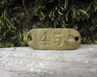 Number Tag Vintage Original Locker Tag Basket Tag Brass Metal Number 45 Tag #45 Tag Lucky Number Address Door Number vtg Early 1900's Old