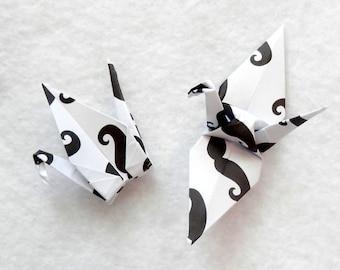 Origami Cranes - 50 Small Mustache Origami Paper Cranes