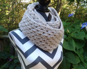 Infinity Scarf. Tan Crocheted Scarf. Neck Warmer. Scarf.