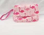 Flamingo, Wristlet, Tiki, Clutch, Purse, Pouch, Handbag, Coin Purse, Cosmetic Bag, Bag, Pink, Phone Wallet, Phone