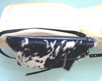Cow hair leather bag, black and white leather cross body bag, black leather handbag