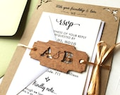 Rustic Laser Cut Woodland Invitation, Wood Engraved Wedding Invitation Monogram Tag