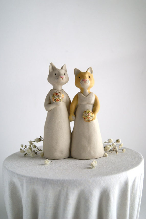 cat couple wedding cake topper -animal topper - bride and bride - wife and wife