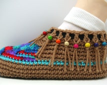 Women's slippers, moccasins,  slippers, shoes, crochet house slippers, boho, gyysy, house shoes, crochet booties, unisex slippers, boots