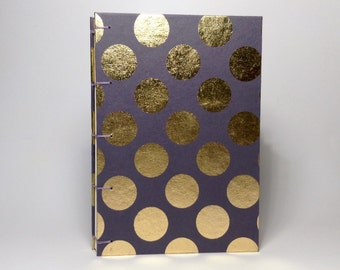 Made to Order - Gray & Gold Polka Dot Journal - Lined Pages