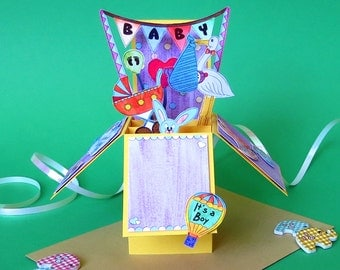 Bespoke 3D Baby Pop-Up Box Card Yellow for Boys and Girls | Foldable Baby Card | Box Card | Pop Up Card| 3D Box | Card in a Box