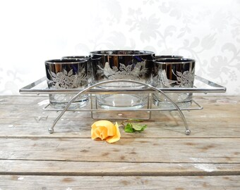 Silver Ombre Lowball Glasses and Ice Bucket with chrome caddy, MCM, mid century modern, Embossed with roses, 1960's, fade