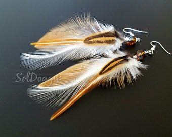 Natural Jewelry Real Bird Feather Accessories Short Feather Earrings Brown White Feathers Boho Chic Jewellery