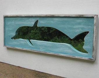 Beach Wall Art,Home Decor,Beach Art,Ocean Painting, Dolphin Mirror, Distressed, Ocean decor,Coastal Art, Wood Wall Art