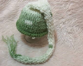 Newborn long tail stocking cap. Gender neutral hat. Newborn hat.