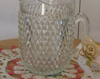 Lead Crystal Pitcher 8 inches Tall Holds holds  1/2 gallon ~ in Excellent Condition Heavy Cut Glass Pitcher