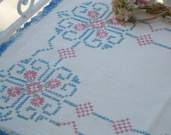 Vintage Hand Embroidered  ~ Linen Runner with Beautiful Cross stitch flowers and Design // Home Decor// Shabby Chic