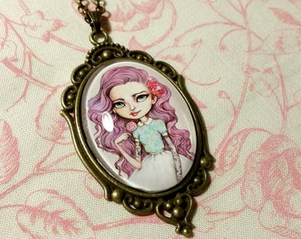 Cabochon Art Necklace - Candy Pastel Hair Girl Miniature Wearable Art Cameo Pendant