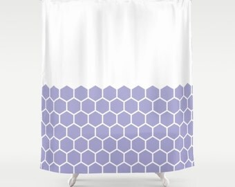 36 colours, Hexagon Honeycomb Half Pattern Shower Curtain, minimalist geometric bathroom shower curtains, Lavender, white background