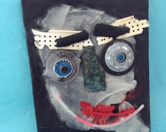 Wall Mask - Encaustic art - Title: Ghost Buster - original mixed media collage - Beeswax art - Halloween Decor - WhatNaughts Series