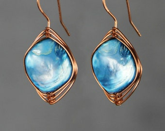Turquoise shell copper wire wrap drop Earrings handmade Bridesmaids gifts Free US Shipping handmade Anni designs