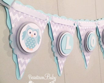 Owl Baby Shower Banner, Cute Owl Baby Shower Decoration, Owl Baby Shower, Baby Girl Owl Banner, Baby Nursery Owl Decor, Owl Baby Banner