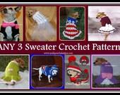 Crochet Pattern Bundle - ANY 3 dog Crochet Patterns for 10.00