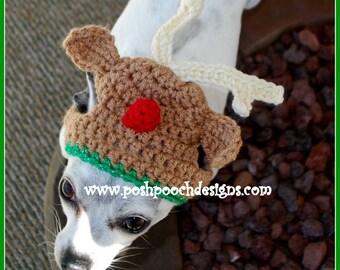 Reindeer Dog Hat - Christmas Dog Beanie - dog hat  2-15lbs