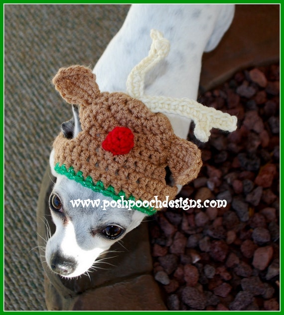 Free Crochet Dog Reindeer Hat Pattern : Reindeer Dog Hat Christmas Dog Beanie dog hat 2-15lbs