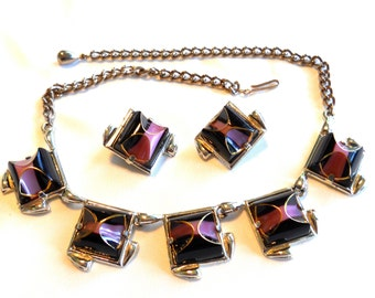 Deep Purple and Mauve Necklace and Earring Set Vintage