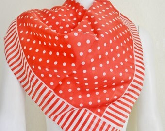 Vintage Polyester Sarah Coventry Scarf Red with White Spots 1980's Fashion