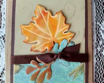 Fall leaves blank card