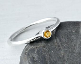 November Birthstone Ring, November Gemstone Ring, Stack Ring, Yellow Gemstone, Birthstone Jewelry, Citrine Ring, Stackable Birthstone Ring