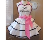 Custom Embroidered Bridal Apron Accented In Sweet Pink, Featuring Personalization Of Your Choice...Perfect Bridal Shower Gift