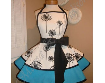 Home Decor Dandelion Print Accented with Aqua Womans Retro Apron With Tiered Skirt And Bib