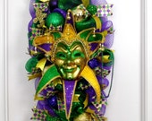 Mardi Gras Wreath, Carnival Wreath, Mardi Gras Swag, Mardi Gras Mask, Mardi Gras Decor, Fleur De Lis Wreath