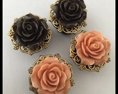 2 PAIRS Golden Fall Brown Peach Rose Girly Ear Guages Plugs
