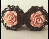 PICK SIZE brown Rose Autumm Girly Ear Guages Dangle Plugs