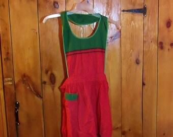 Apron, Cotton red and green apron, Small apron, kitchen apron, market apron.....