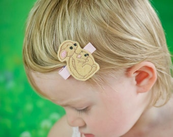 Felt Animal-Girls Boutique Embroidered Felt Kangaroo Hair Clip-Baby Joey Hair Clippie-No Slip Grip