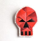 Skull brooch with red geometric design hand embroidered on cream muslin and cream felt Halloween Day of the Dead E2