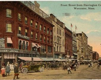 Vintage Postcard, Worcester, Massachusetts, Front Street from Harrington Corner, 1913
