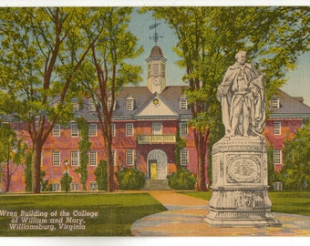 Linen Postcard, William and Mary College, Williamsburg, Virginia, Wren Building