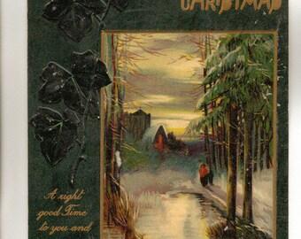 Vintage Christmas Postcard, Winter Scene, Raphael Tuck Christmas Series