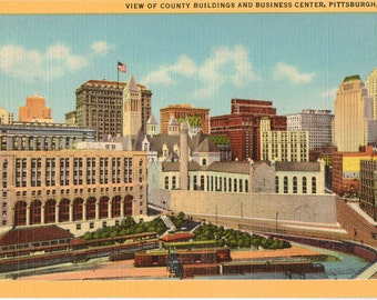 Linen Postcard, Pittsburgh, Pennsylvania, County Buildings and Business Center, ca 1930