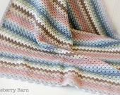 Luxury Pastel Baby Blanket - Merino/Cashmere Blend - Handmade, Crochet - Ready to Ship, UK Seller - gift, baby shower