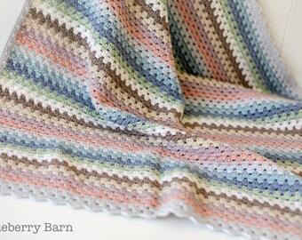 Luxury Pastel Baby Blanket - Merino/Cashmere Blend - Handmade, Crochet - Ready to Ship, UK Seller - gift, baby shower