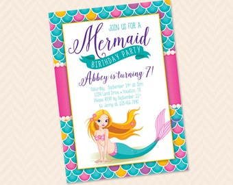 Mermaid Birthday Party Invitation Design