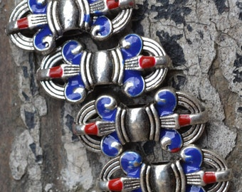 Colorful cloisonné & silver dorje pendant beads CL005