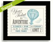 Wedding Ticket to Adventure Wedding Gift for Couples Unique Engagement Gift Hot Air Balloon Bride and Groom Personalized Wedding Balloon