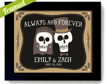 Skeleton Wedding Gift Skull Art Halloween Wedding Skeleton Art Print Personalized Day of the Dead Tombstone Newlywed Gift Tattoo Couple