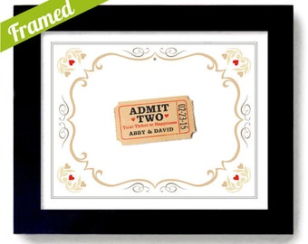 Country Chic Wedding Gift Love Ticket for Two Unique Engagement Keepsake Framed Art Print Decor Gift for Couples County Fair Bride and Groom
