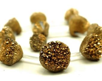 Titanium Gold Druzy Agate Gemstone Diamond 28x16-18x13MM Loose Beads 11 Beads (90189144-B47)