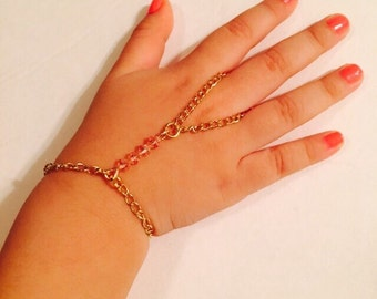 Baby girl slave bracelet or hand harness,  gold color chain made with light rose Swarovski crystals.